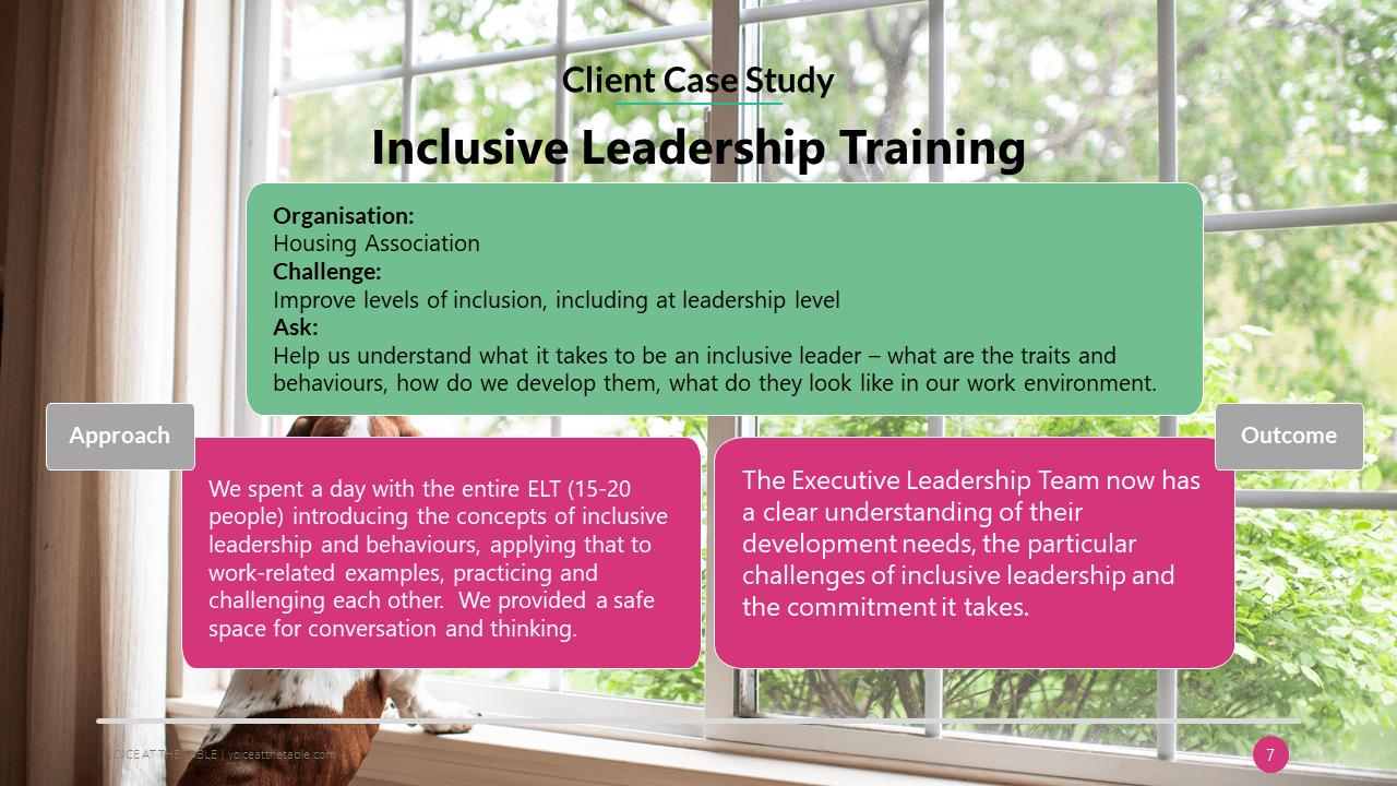 client case study. inclusive leadership training.