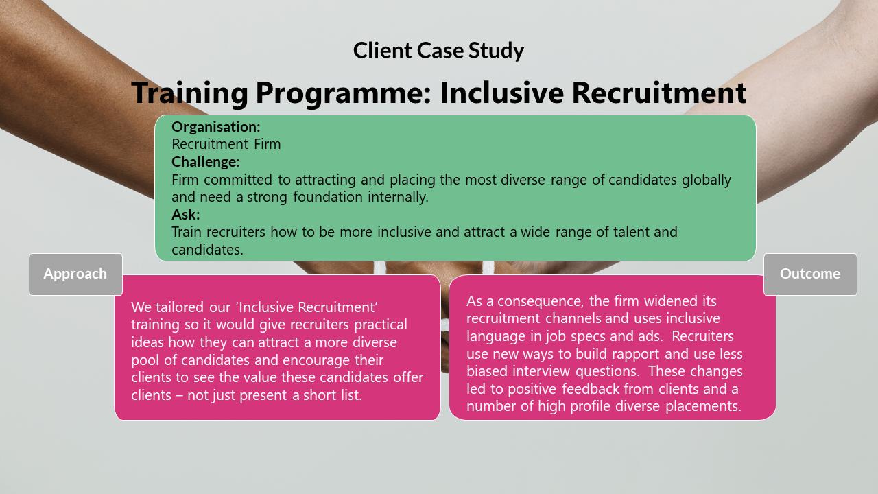 client case study. inclusive recruitment training program.